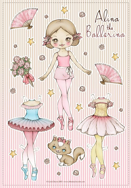 Alina the Ballerina paper doll by ribonita chocolat on Etsy