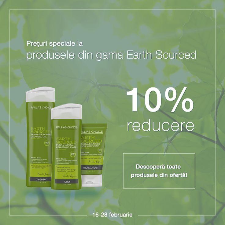 Oferă-i tenului tău ce e mai bun cu produsele din gama Earth Sourced - produse de îngrijire formate din ingrediente naturale în proporție de 98%. Beneficiază acum de ofertă și cumpără produsele la un preț special!