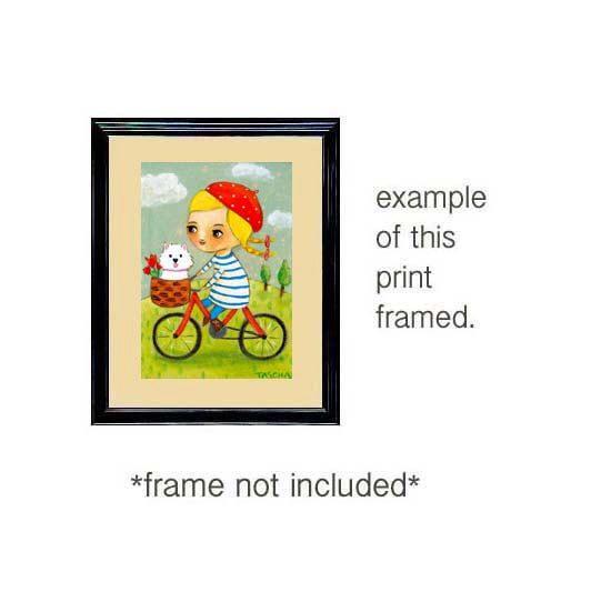 PERRO Westie en un paseo en bicicleta por tascha impresión de