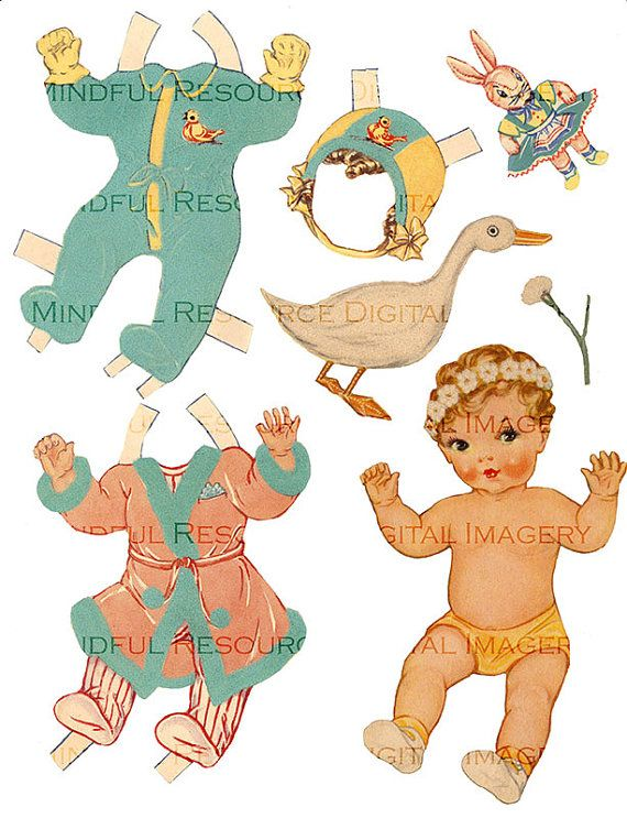 golden baby paper doll printable 1946 whitman 6 costumes digital