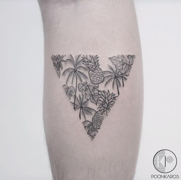 Tropical Triangular Glyph Tattoo by Karry Ka-Ying Poon
