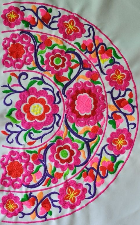 garoopatternandcolour: Pink Floral Miao Embroidery