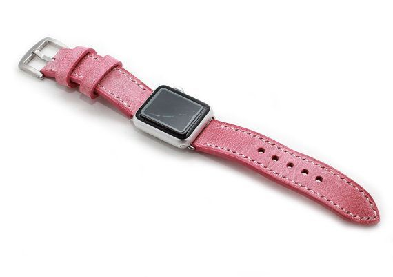 Hand Stitched Leather Apple Watch Strap in rose pink leather from France and is great match with rose gold watch. All the white wax will be gone and pink color will be darken over time and developed gorgeous patina.  Apple Watch Band, Hand Stitched Apple Watch strap, iWatch 38mm, iWatch 42mm replacement strap. All 4 lugs, gold, rose gold, black and steel silver are available.