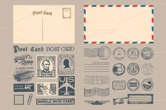 Passport & Postage Stamps and Badges by Seyyahil on @creativemarket