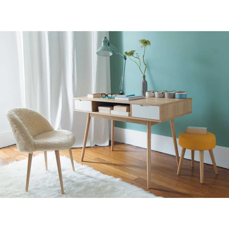 Chaise vintage fausse fourrure MAURICETTE, bureau vintage FJORD | Maisons du Monde