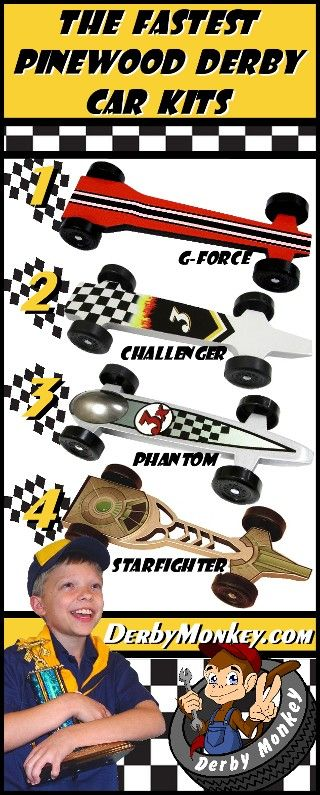 The Fastest Pinewood Derby Car Kits www.DerbyMonkey.com