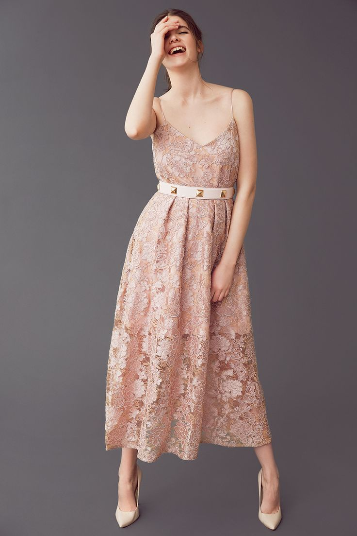 Mix & match your perfect dress! LYNN-STELLA in dusty rose lace with a studded belt.
