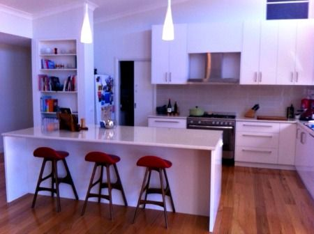Kassie Hocking  Mildura kitchen _ We designed the house to be open and light and make the most of the warm climate. Our main living areas are faced north, with high pitched ceilings and windows bringing in light and warmth. We have also constructed a large pergola and are in the process of growing ornamental grape vines to create shade for the summer months. We really enjoy living in Koorlong...