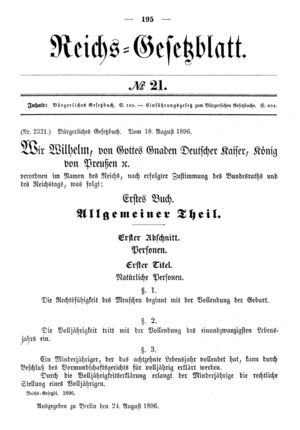 The Bürgerliches Gesetzbuch (or BGB) is the civil code of Germany. In development since 1881, it became effective on January 1, 1900, and was considered a massive and groundbreaking project.