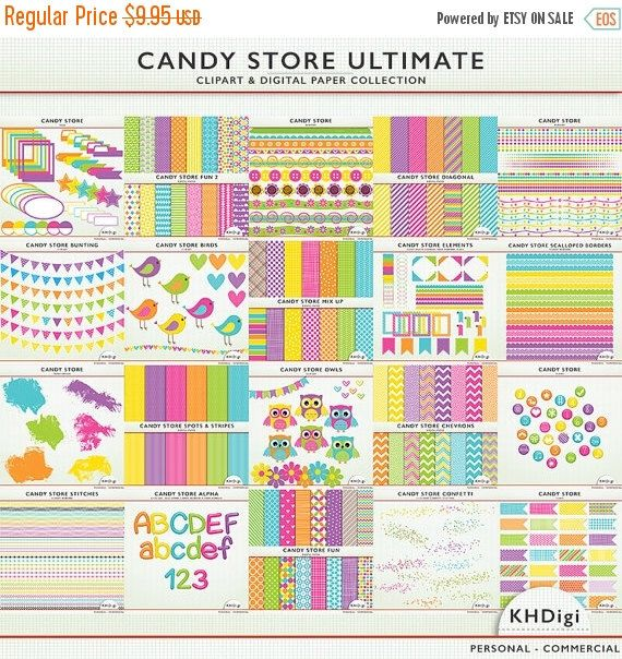 75% OFF SALE Digital Paper & ClipArt - Candy Store Ultimate Collection -  Clip art - Scrapbooking - Card Making - for  Personal and Commerci by KHDigi on Etsy https://www.etsy.com/uk/listing/163963538/75-off-sale-digital-paper-clipart-candy