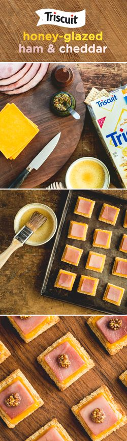 It's tough to go wrong with ham & cheese on a TRISCUIT cracker, especially when it's honey-glazed! Heat broiler & cut deli ham slices into cracker-sized pieces. Place crackers in a single layer on a baking sheet and top with cheese & ham slices. For the glaze, mix 1 tbsp. each of honey and water until blended and brush onto ham. Broil 8 in. from heat for 2-3 min. or until cheese melts. To finish, mix mustard & honey until blended, and spoon 1/4 tsp. onto each topped cracker. Melts in your…