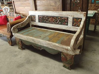 Bali Furniture Hand Carved Recycled Teak Bench Seat Daybed