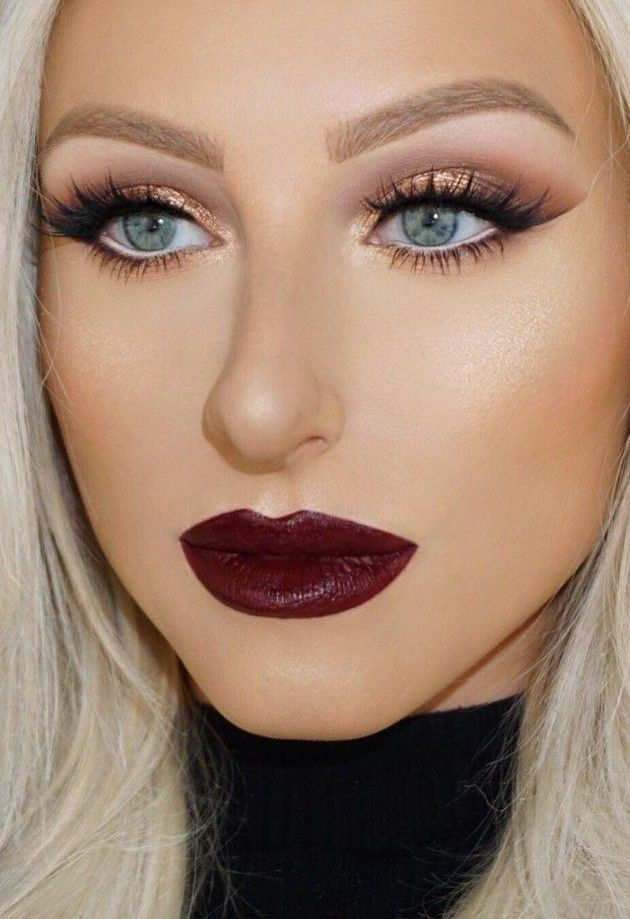Wine Lips + Contouring + Highlight + Lashes + Brown Crease + Gold Eyelid                                                                             Source