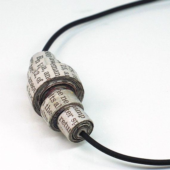 Paper Bead Jewelry- Upcycled Newspaper Paper Bead Necklace by Tanith Rohe