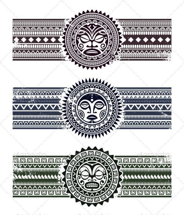 Polynesian tattoo styled masks with pattern bracelets.