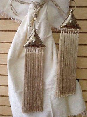 Details about Pair of (2) Moroccan Silk Curtain Tassel Caidal Tieback Metalwork Fibula Beige