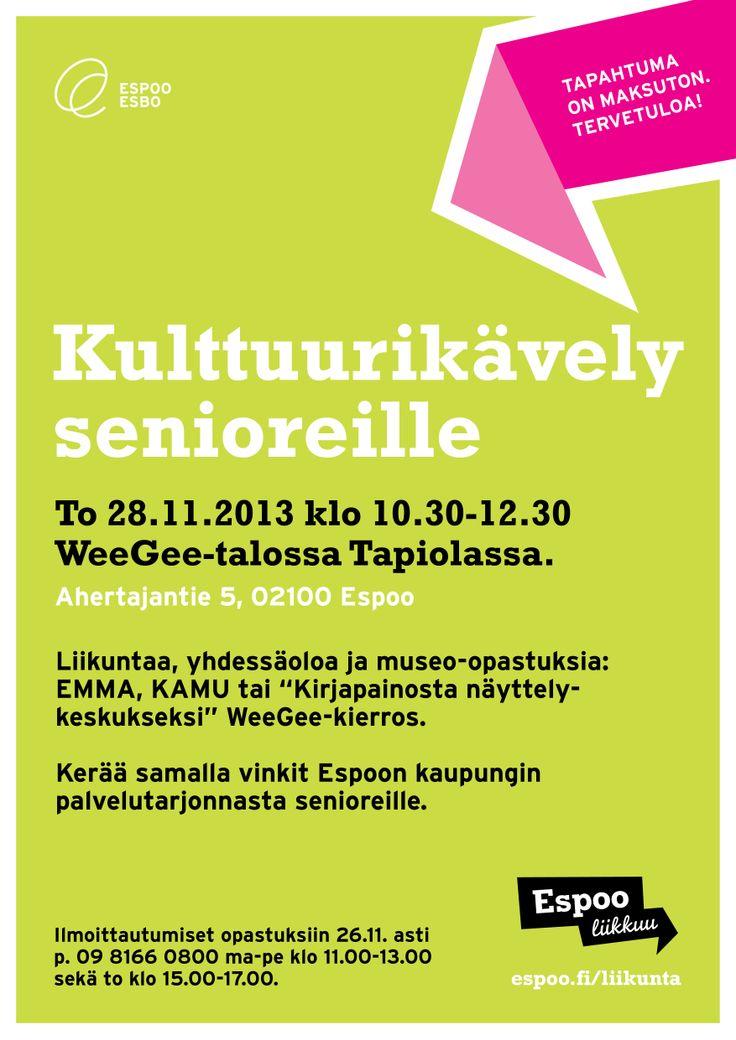 Espoo liikkuu -ilmeellä tehty juliste / Mainostoimisto RED / Syksy 2013