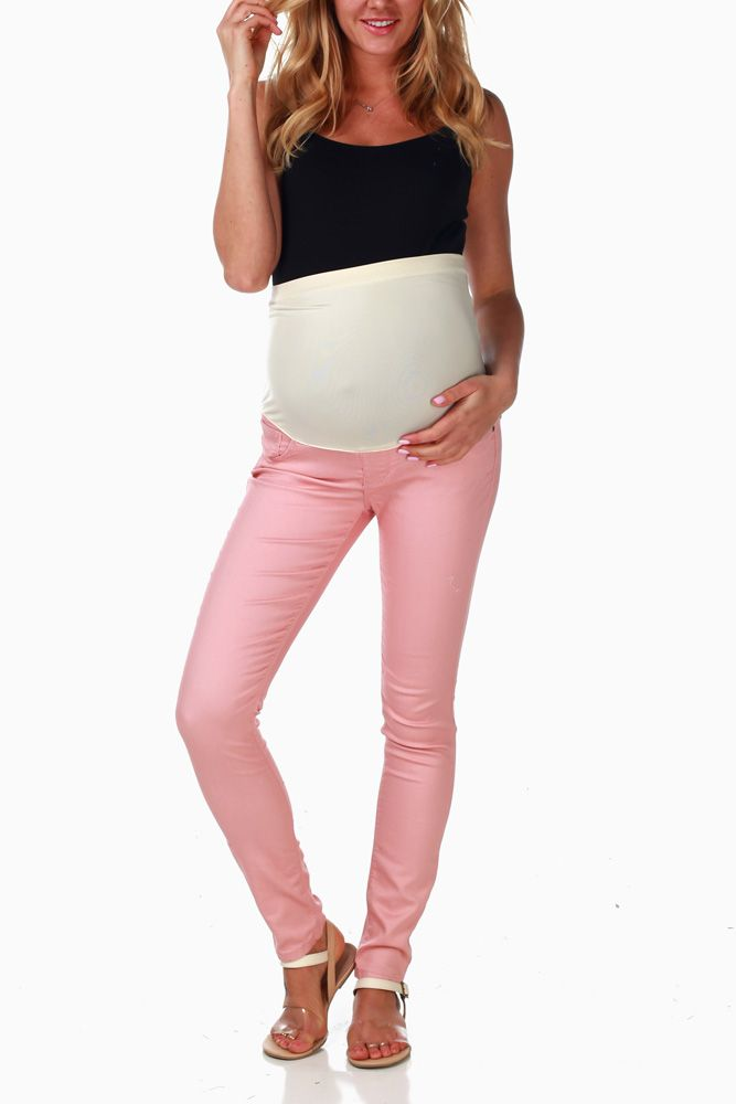 Pink Maternity Skinny Jeans