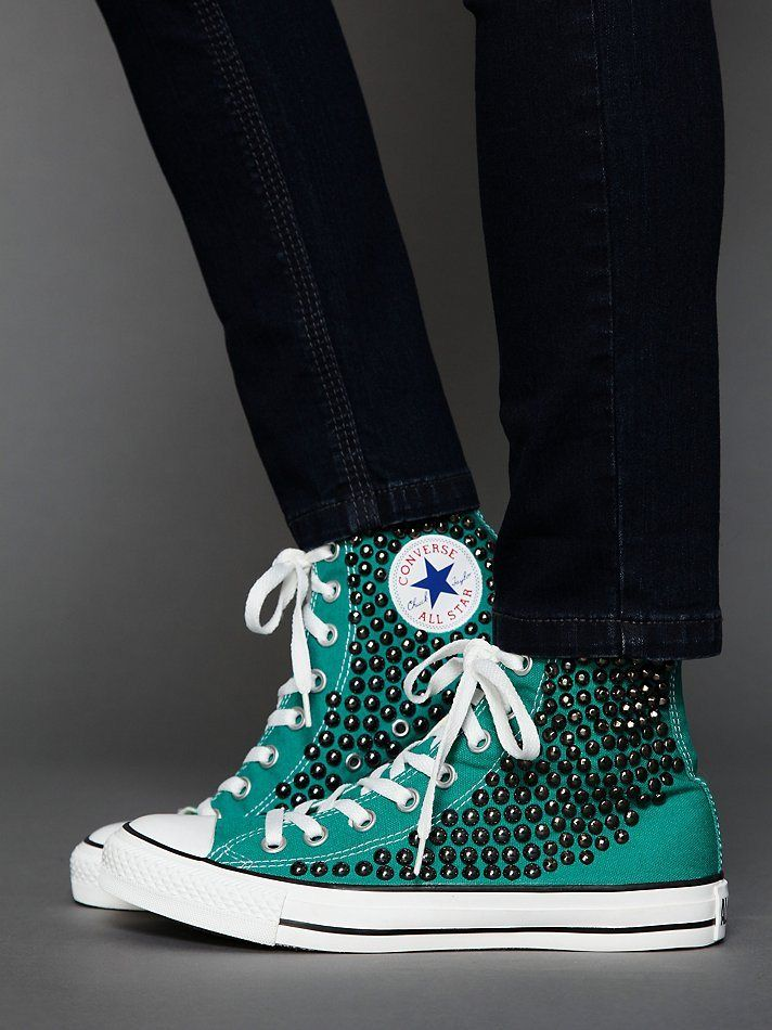 green studded converse high tops...... Oh my goodness these are so cool and pretty