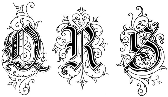 Old English Style Letters : QRS These Old English Style Letters are from Art Alphabets and Lettering by J.M. Bergling, copyright 1918.