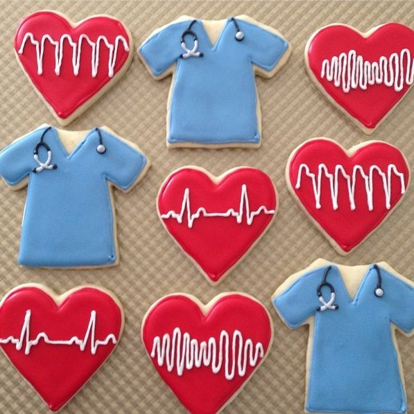 Scrubs and heart monitor (pqrst waves) cookies. 2 V tachs, 2 V fibs, 2 normal sinus rhythms