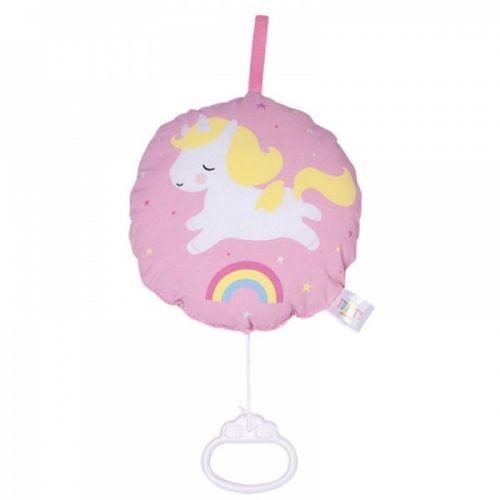Kjempesøt, rosa musikkuro med enhjørning mønster fra A Little Lovely Company.Den har en lang løkke, noe som gjør at den enkelt kan henges opp der barnet vil.Perfekt babyhower- eller barselgave! :-)Mål: Ø 18 cm. Total lengde: 33Materiale:Bomull med akrylfyll.Farge: Rosa