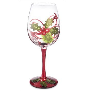 Holly berries hand painted holiday wine glass 16 oz for Christmas painted wine glasses pinterest