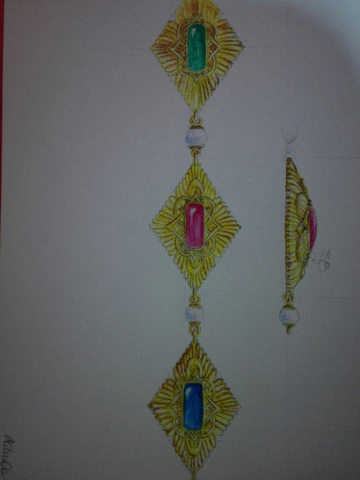 Łańcuch z kaboszonami i perłami
