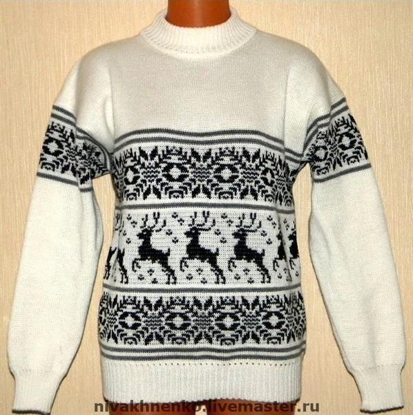 Вязаные свитера белые с орнаментом