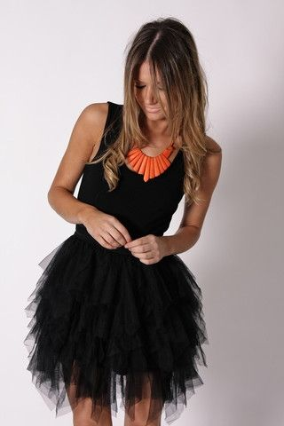 twist on the little black dress, and Love the orange necklace: Cocktails Dresses, Statement Necklaces, Tulle Skirts, Black Dresses, Parties Dresses, Tutu Dresses, Orange Necklace, Black Tutu, The Dresses