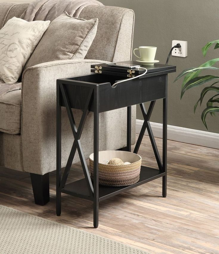This Side End Table featuring a flip top, when open reveals ample storage, and a charging station. Charging station includes two standard outlets and two USB ports. Charging station built in. Flip top for concealed storage.   eBay!