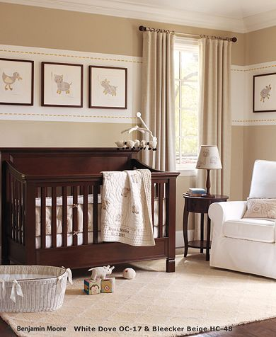Pottery barn nursery, love the paint designWall Colors, Potterybarn, Barns Kids, Baby Room, Cribs, Neutral Nurseries, Nurseries Ideas, Pottery Barns, Babies Rooms