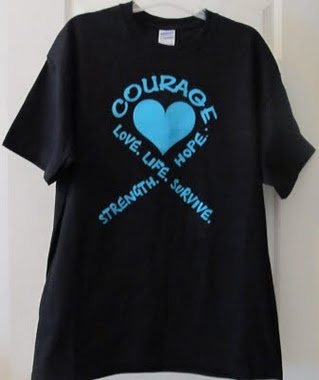 Ovarian Cancer Awareness T Shirt to support ovarian cancer awareness.
