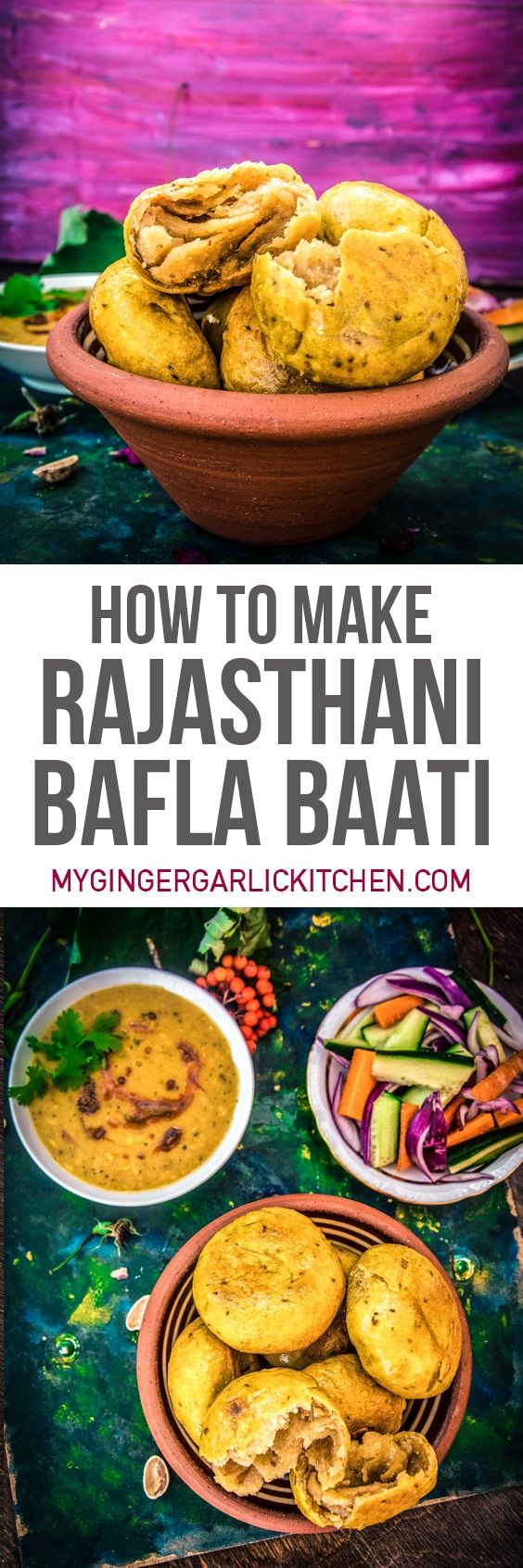 Dal Bafla or Bafla Bati is a famous bread of western India. Bafla is a popular dish of Rajasthan and Madhya Pradesh. From: mygingergarlickitchen.com #Rajasthanifood #Bati #Breads #vegetarian #Baflabaati #videorecipe #Desi #Boiled