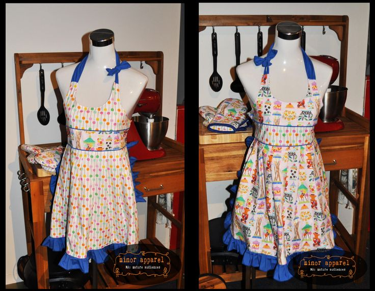 Fancy Women's Apron with piping, ruffles and fully reversible