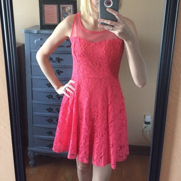 Coral colored dress Super cute! Coral color. Zip up back. Great condition! Xhilaration Dresses