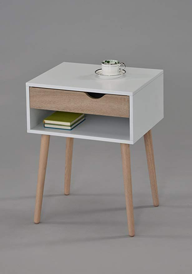 White Finish Sonoma Oak Nightstand Side End Table With Drawer And Open Shelf Storage Mid Century Style Oak Nightstand End Tables With Drawers End Tables