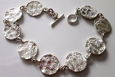 Reticulated Circles  Silver Bracelet