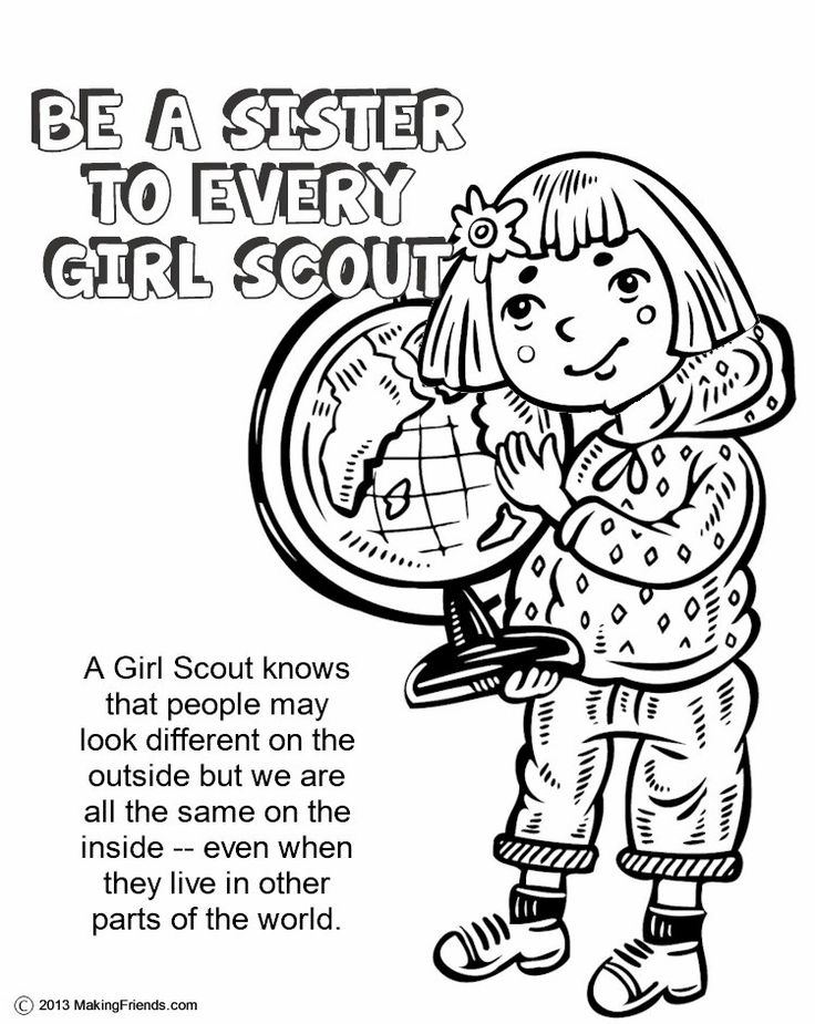 Girl Scouts Be a Sister to Every Girl Scout. After learning the Violet Petal finish with this coloring page to re-cap. For more Girl Scout Ideas look at MakingFriends.com