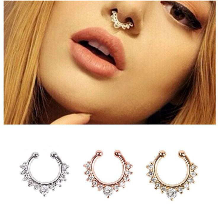 Get the look without the piercing with this fake septum ring. These septum nose rings are available in gold, silver and rose gold tone. The nose ring is adorned with numerous clear rhinestones. Adjust