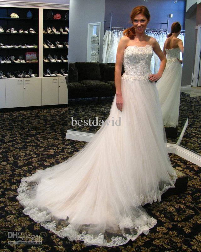 Cheap Lace Ball Gown Tiana Wedding Dress Strapless Beaded Applique Hemline Tulle Chapel Length Train