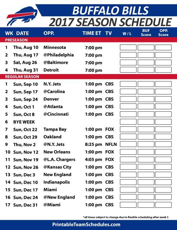 Buffalo Bills Football Schedule 2017 https://www.fanprint.com/licenses/buffalo-bills?ref=5750