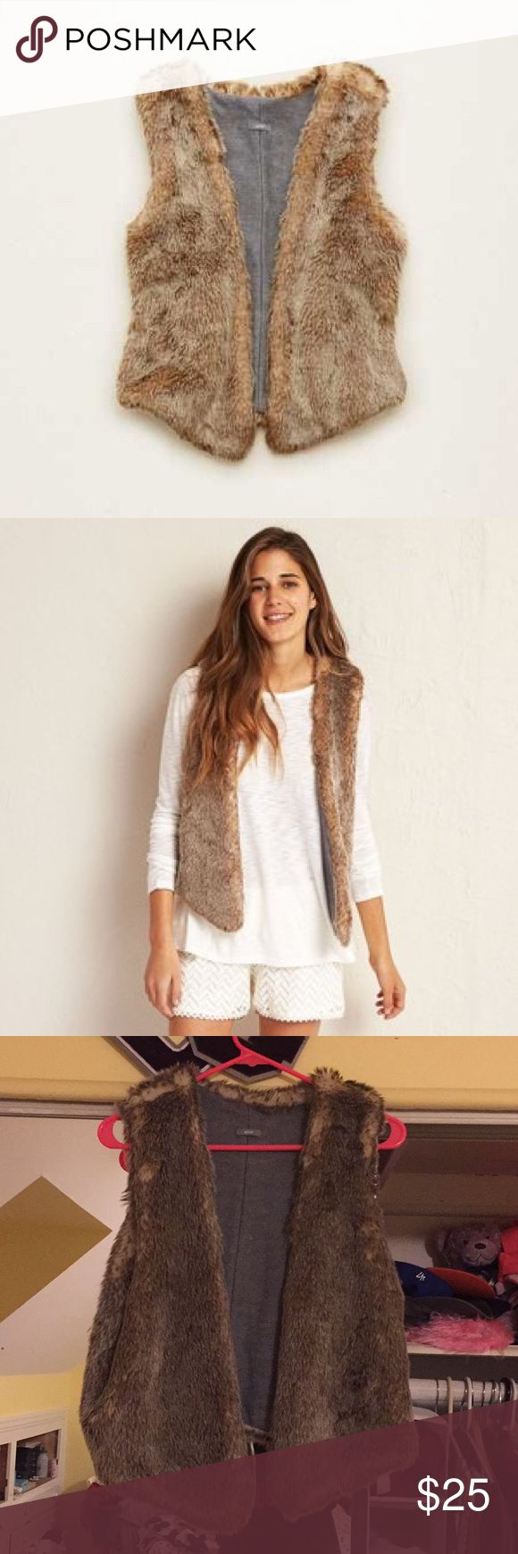 """Aerie Faux Fur Vest This vest from aerie is comfortable to throw over any shirt/blouse! It is super soft and comfortable. The best has only been worn a couple of times and is in great condition! For last two pictures to show size- I am 5'7"""" 135 lbs and this vest has fit me perfectly since I was 5'5"""" and slimer, and still manages to fit! aerie Jackets & Coats Vests"""
