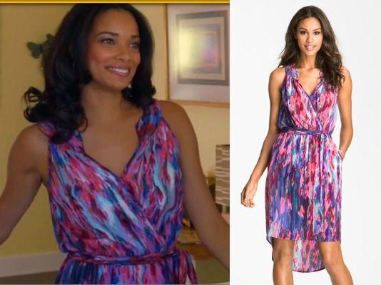 Mistresses episode 6: April's (Rochelle Aytes) Multicolor Print Wrap Dress by Presley Skye #getthelook #mistresses