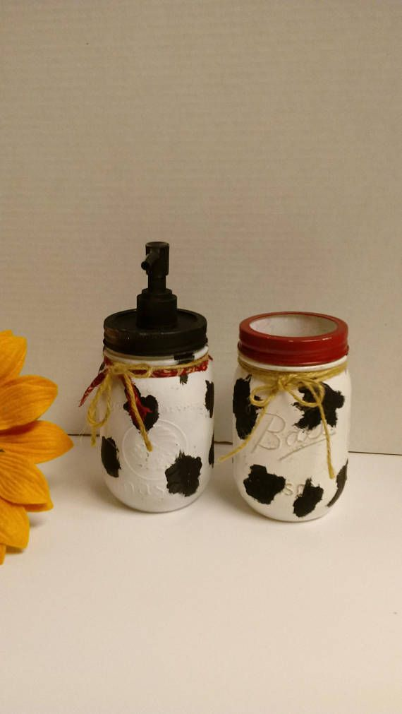 Bathroom Set, Soap Dispenser and Toothbrush Holder, Farmhouse, Country Living, Rustic