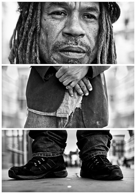 Triptychs of Strangers #21, The Appreciative Rough Sleeper - London by theblackstar, via Flickr