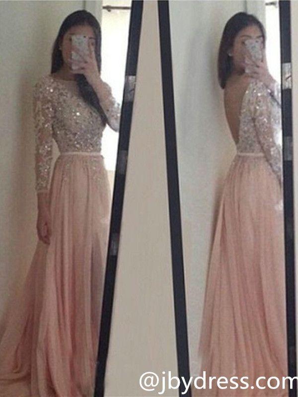 Custom Made Round Neck Long Sleeves V Neck Back Prom Dresses, Long Sleeves Formal Dresses
