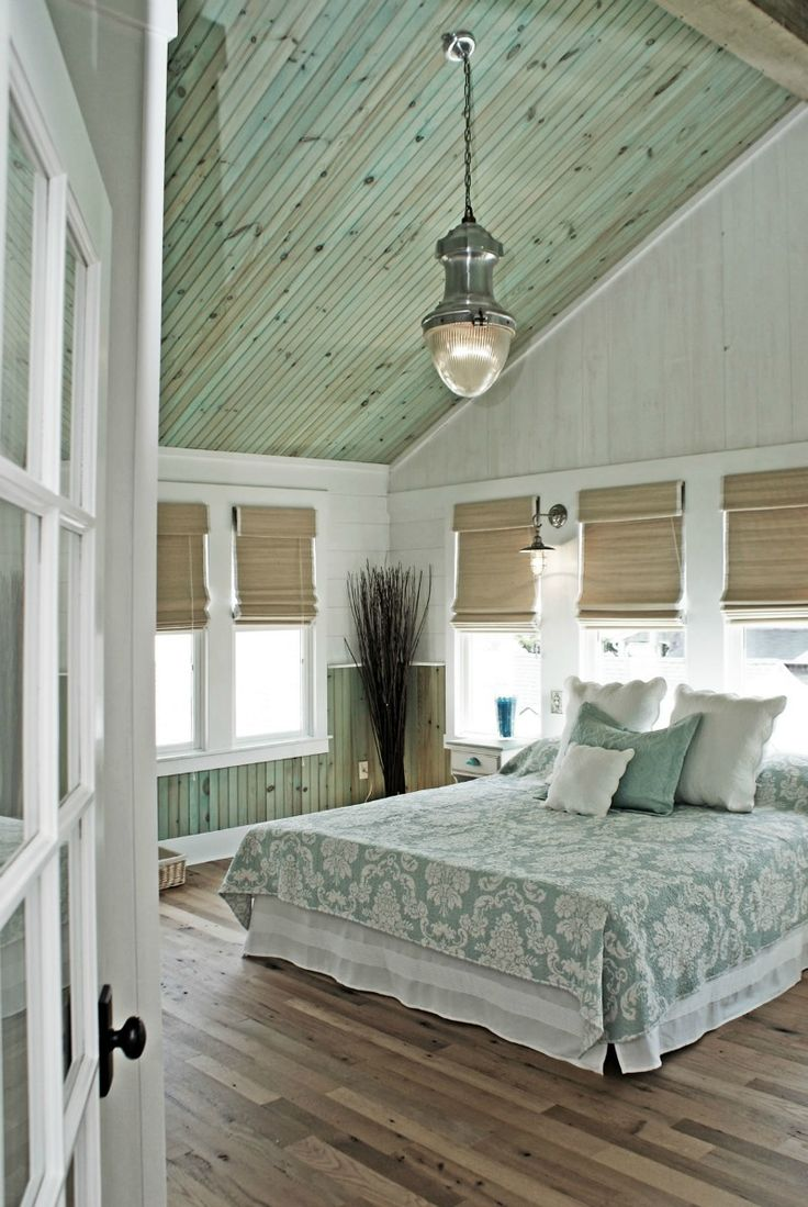 Light green bedroom colors - 40 Chic Beach House Interior Design Ideas