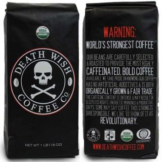 Death Wish Coffee- Worlds Strongest Ground Coffee Beans:: What really surprised me about this coffee the first time I tried it wasn't the fact that it's insanely caffeinated, more the fact that it actually tastes incredibly good! Makes you want to just keep chugging along, although you probably should try to limit yourself.