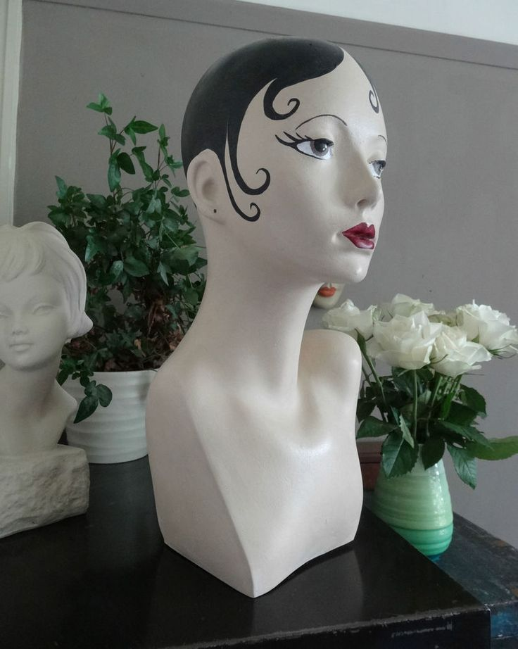 mannequin bust head shop jewellery hat scarf display hand painted vintage style